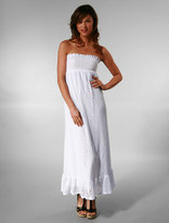 Corsica Full Length Smocked Tube Dress in White