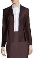 Theory Braneve Wool-Blend Peplum Jacket, Garnet