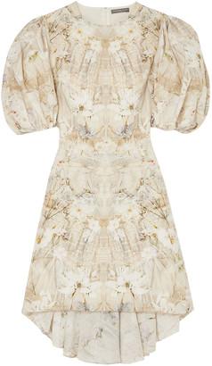 Alexander McQueen Asymmetric Floral-print Silk Crepe De Chine Dress