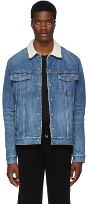 Balmain Blue Denim Shearling Jacket