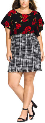 City Chic Trendy Plus Size Boucle Skirt