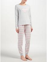 John Lewis Lydia Heart Stripe Long Sleeved Pyjama Set, Grey/Pink