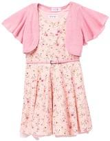 Beautees Ruffle Shrug & Floral Skater Dress (Big Girls)