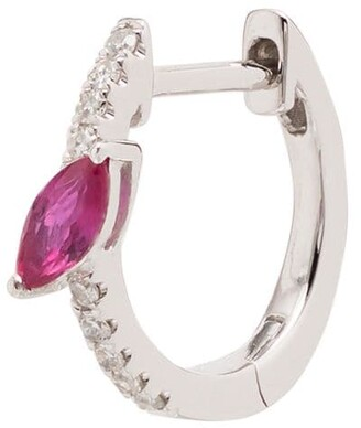 Roxanne First 14kt White Gold Diamond And Pink Sapphire Marquise Hoop Earring