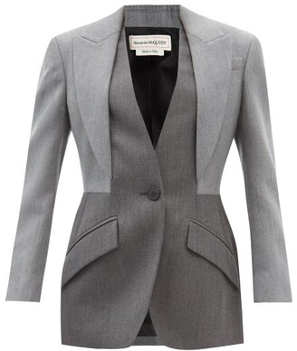 Alexander Mcqueen - Single-breasted Layered-effect Wool Suit Jacket - Grey Multi