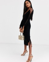 Asos Design DESIGN ribbed midi dress with v neck and lace up sleeve detail