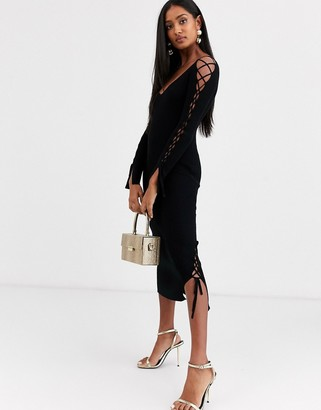 Asos Design DESIGN ribbed midi dress with v neck and lace up sleeve detail-Black