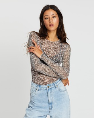 Missguided Animal Ditsy Contrast LS Mesh Bodysuit