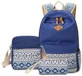 Morrivoe Women 3pcs Canvas Backpack Shoulder Bag Pencil Case 14 inch Laptop Bag Travel Rucksack Daypack Schoolbag for Girls