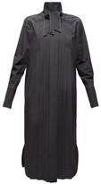 Marni Neck-tie Pleated Cotton Shirtdress - Womens - Black