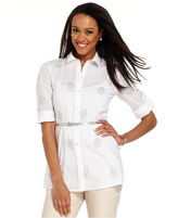 Charter Club Top, Long-Sleeve Embroidered Belted Shirt