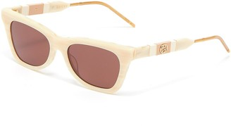 Gucci Marble effect acetate frame cat eye sunglasses