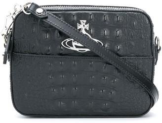 Vivienne Westwood Logo Plaque Croc-Effect Cross Body Bag