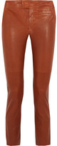 Isabel Marant Covida Cropped Leather Slim-leg Pants - Brown