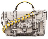 Proenza Schouler PS1 Tiny Canvas & Snakeskin Satchel Bag, Ecru