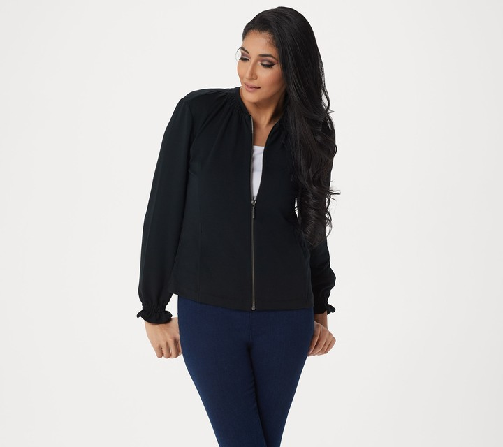 Halston H By H by Knit Bomber Jacket with Ruching Detail