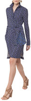 Akris Punto Abstract-Print Wrap-Front Shirtdress, Blue