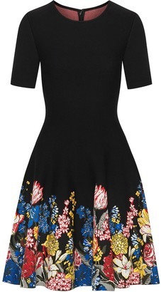 Oscar de la Renta Embroidered Floral Mini Dress