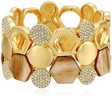 T Tahari Wide withMother-Of-PearlDetail Gold/ Brown Stretch Bracelet