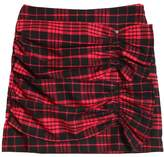 Ruched Plaid Cotton Flannel Skirt