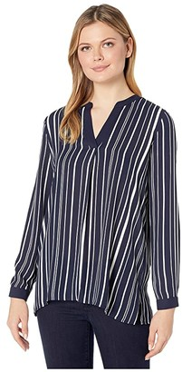 Vince Camuto Long Sleeve Plain View Stripe Split-Neck Tunic (Caviar) Women's Blouse