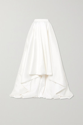 Halfpenny London Robin Asymmetric Pleated Duchesse-satin Maxi Skirt - White