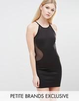 TFNC Petite Spot Mesh High Neck Pencil Dress