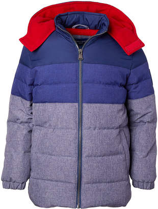 Perry Ellis Boys' Puffer Coats BLUE - Blue & Slate Textured Color-Block Hooded Puffer Coat - Toddler & Boys