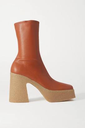 Stella McCartney Vegetarian Leather Platform Ankle Boots - Beige