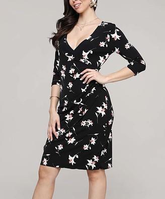 Lbisse Women's Cocktail Dresses Black - Black & Ivory Floral Surplice Sheath Dress - Women