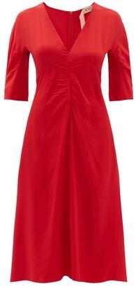 No.21 No. 21 - Gathered Crepe De Chine Midi Dress - Red