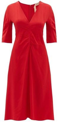 No.21 No. 21 - Gathered Crepe De Chine Midi Dress - Womens - Red
