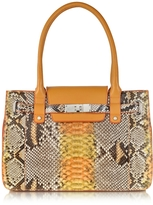 Ghibli Orange and Yellow Python and Leather Large Satchel