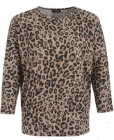 Thumbnail for your product : New Look Curves Leopard Print Fine Knit Batwing Jumper
