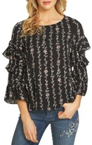 CeCe Women's Printed Ruffle Sleeve Blouse