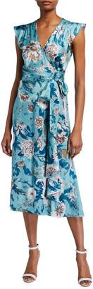 Diane von Furstenberg Gwendolyn Reversible Satin Floral-Print Wrap Dress