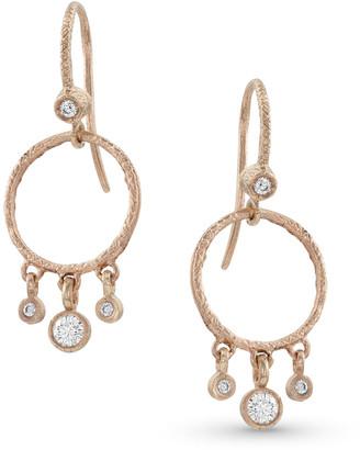 Dominique Cohen 18k Rose Gold Diamond Hoop Drop Fringe Earrings