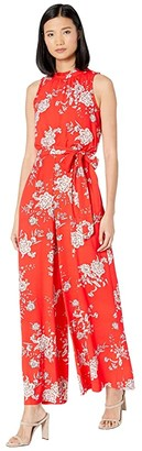 Vince Camuto Printed Crepe Wide Leg Jumpsuit with Ruffle at Neck and Armholes (Poppy) Women's Jumpsuit & Rompers One Piece