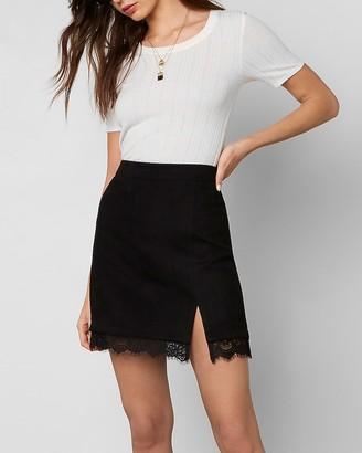 Express Bb Dakota High Waisted Lace Suede Skirt