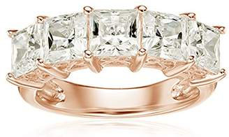 Swarovski La Lumiere Rose Gold-Plated Sterling Silver Zirconia 3 cttw Princess Cut 5 Stone Ring N1/2