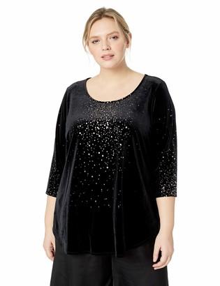 Karen Kane Women's Plus Size 3/4 Sleeve Metallic Print TOP