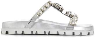 Miu Miu crystal embellished flat sandals