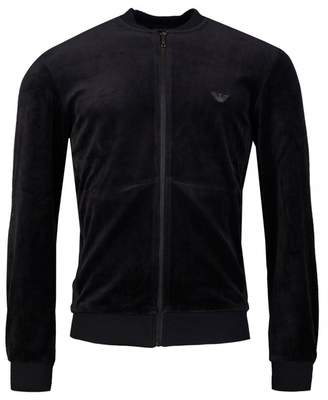 Emporio Armani Velour Baseball Jacket Colour: BLACK, Size: SMALL