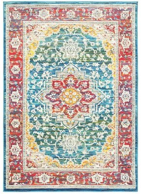 """Bungalow Rose Mansi Oriental Red/Blue/Yellow Area Rug Rug Size: Rectangle 5'3"""" x 7'6"""""""