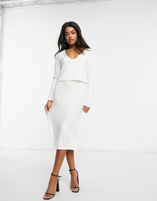 ASOS DESIGN super soft long sleeve overlay midi dress in winter white