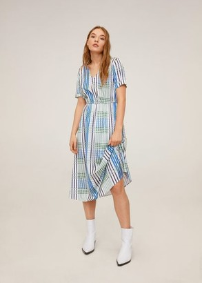 MANGO Check pattern midi dress pastel green - 2 - Women