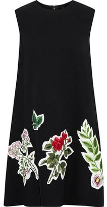 Oscar de la Renta Appliqued Wool-blend Crepe Mini Dress