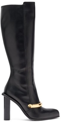 Alexander McQueen Point-toe Leather Knee-high Boots - Black
