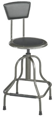 Safco Products Company Safco Diesel Series Industrial Stool w/Back, High Base, Pewter Leather Seat/Back Pad Size: High