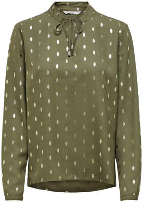 Only Tie-Neck Grandad Collar Blouse in Polka Dot with Long Sleeves